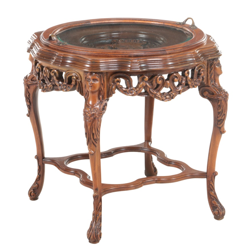 Italian Carved Walnut and Glass Tray-Top Side Table, 20th Century