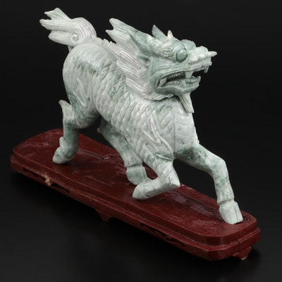 Chinese Carved Serpentine Longma Figure with Wood Base