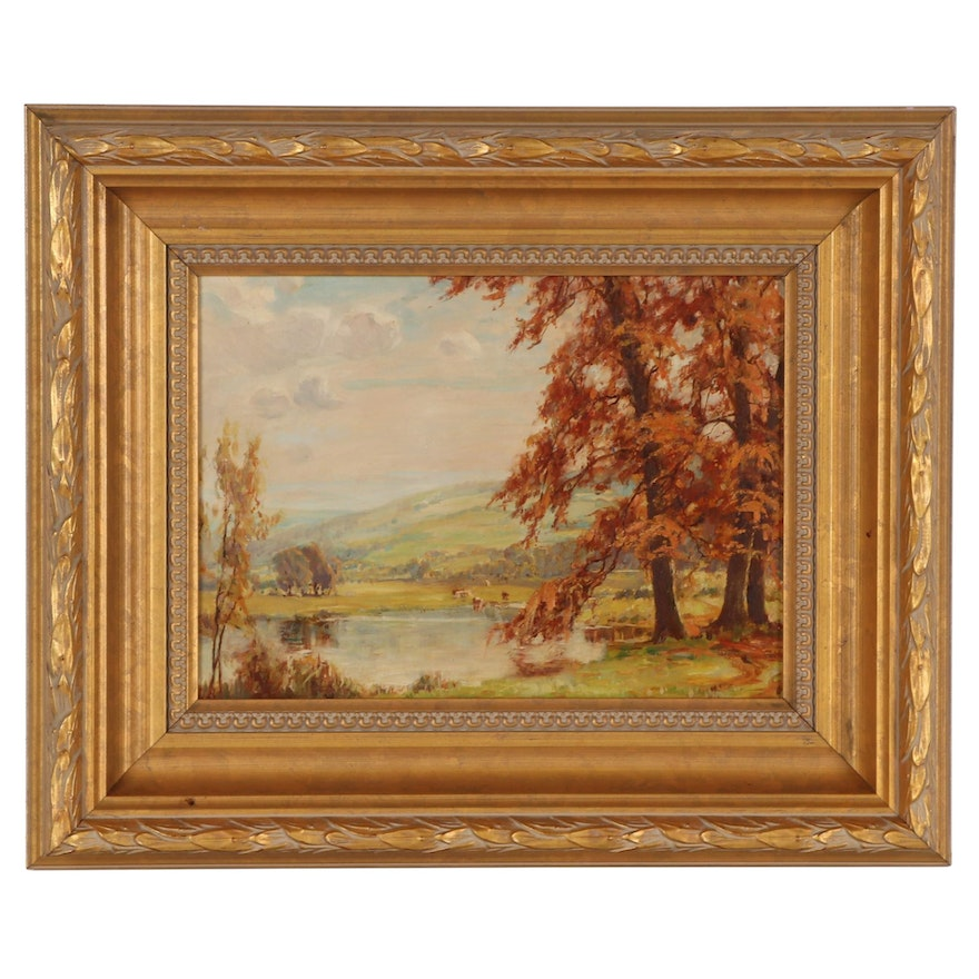 Landscape Oil Painting of Forest, Early-Mid 20th Century