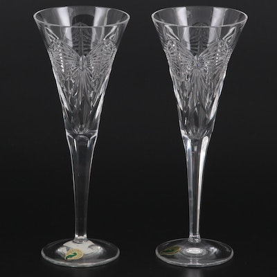 """Waterford """"Millennium Series"""" First Toast Happiness Crystal Champagne Flutes"""
