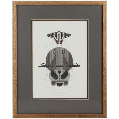 "Charley Harper Lithograph ""Raccobat,"" 1978"