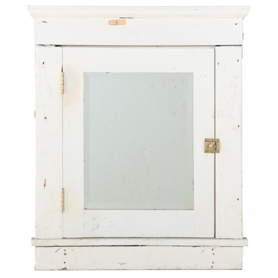 Built-In Painted Medicine Cabinet with Beveled Mirror, Early 20th Century