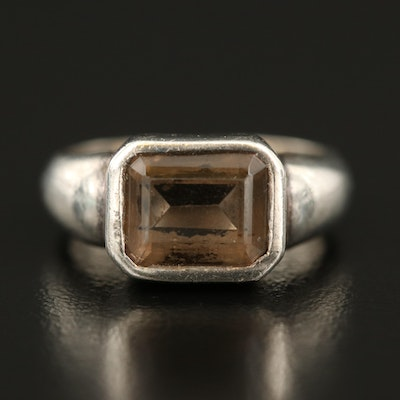Sterling Smoky Quartz East-West Solitaire Ring