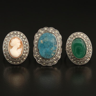 Vintage Sterling Marcasite Halo Rings with Chalcedony and Shell Cameo