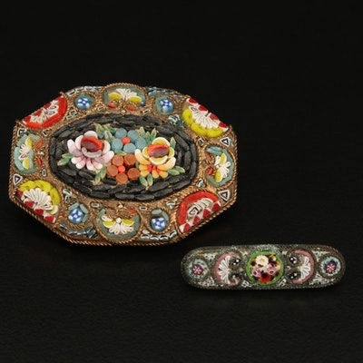 Italian Glass Floral Micromosaic Brooches