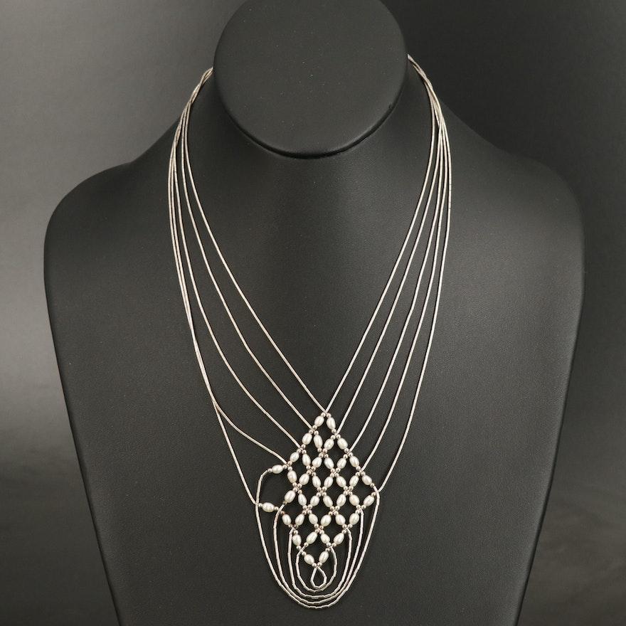 Sterling Liquid Silver Pearl Multi-Strand Necklace