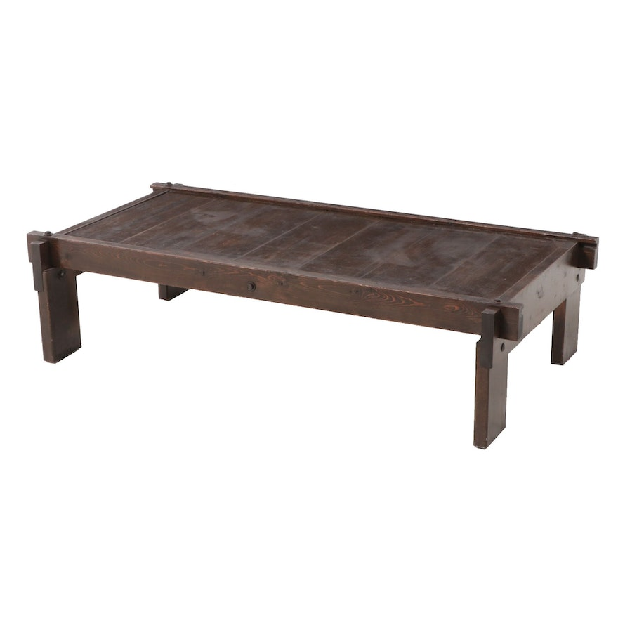 Pine Coffee Table with Exposed Bolt Construction, Circa 1970s