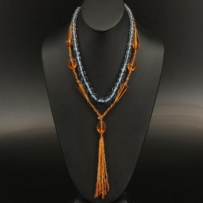 Art Deco Glass Sautoir and Graduated Beaded Necklaces