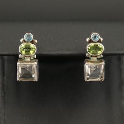Sterling Rock Quartz Crystal, Peridot and Topaz Earrings
