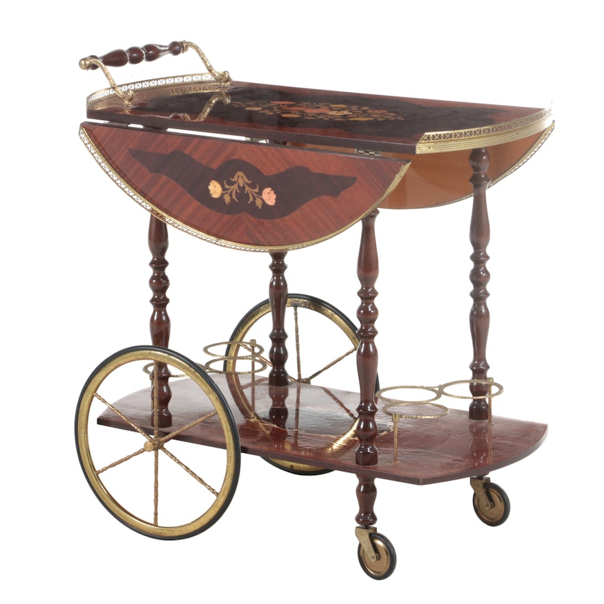 Italian Brass-Mounted and Marquetry Drop-Leaf Serving Cart, 20th Century