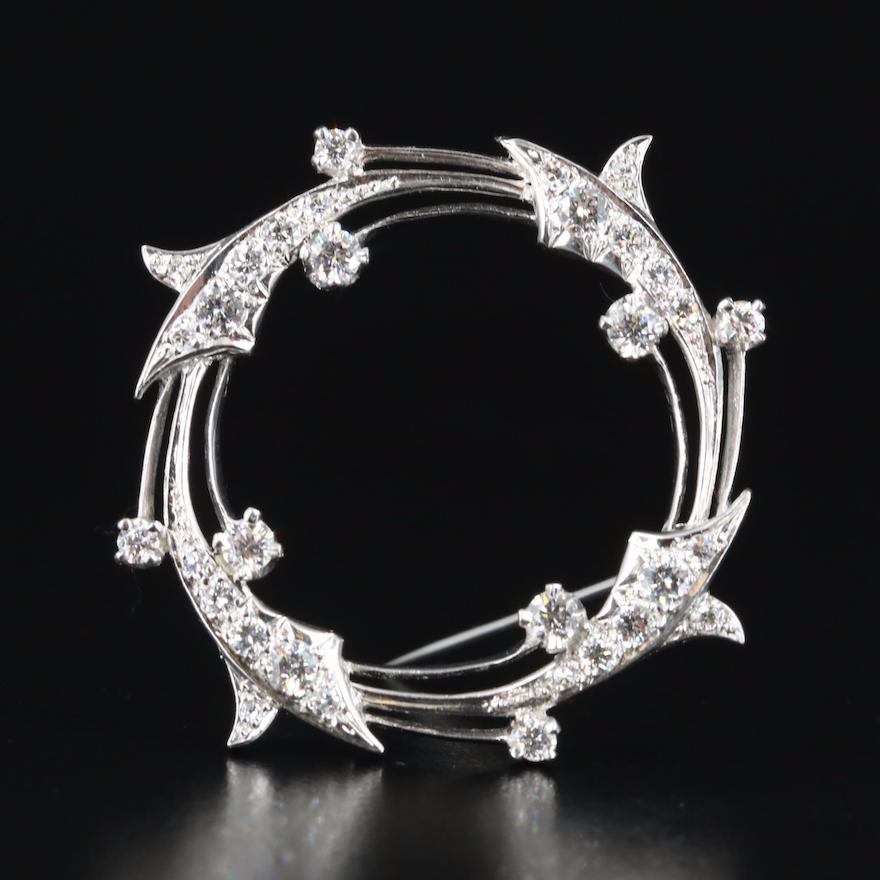 Vintage Platinum 1.88 CTW Diamond Brooch