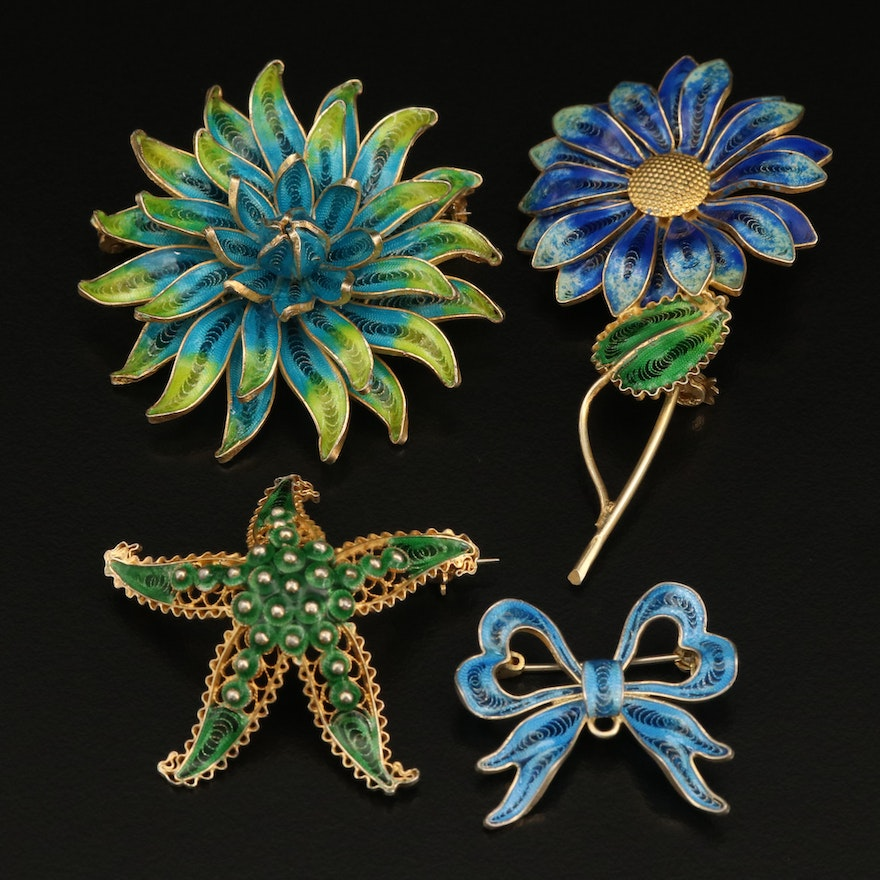 800 Silver Enamel Filigree Inlay Flower, Starfish and Bow Brooches