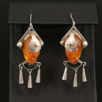 Mexican Sterling Glass Figural Fringe Earrings