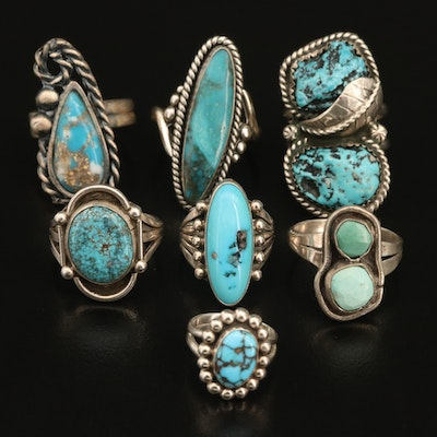 Sterling Turquoise and Imitation Turquoise Ring Selection