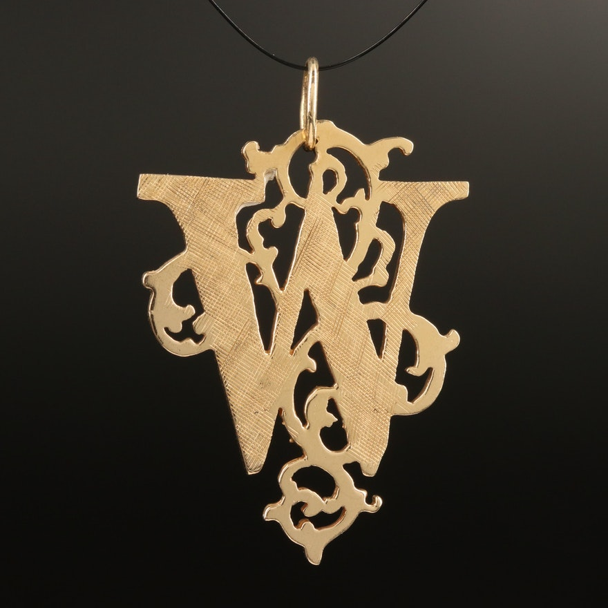 "14K Ornate ""W"" Monogram Pendant"