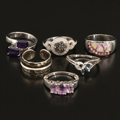 Sterling Gemstone Ring Selection Including Opal, Amethyst and Diamond