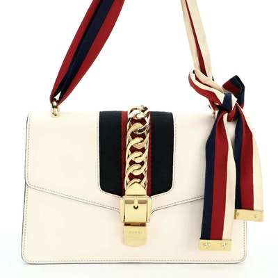 Gucci Mini Sylvie Top Handle Bag in White Leather with Web Strap