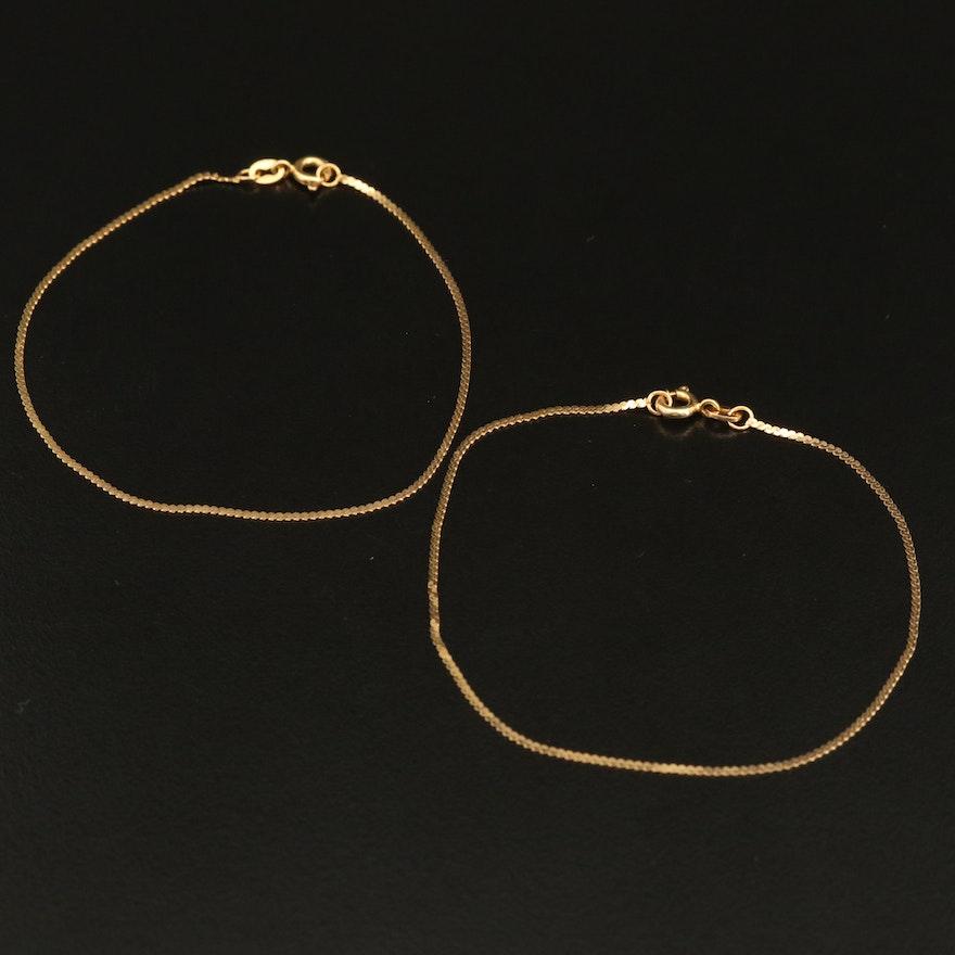 Italian 14K Serpentine Chain Bracelets