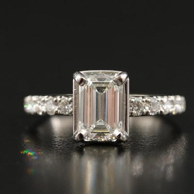 14K 2.60 CTW Diamond Ring with IGI Report and Plaitnum Accent