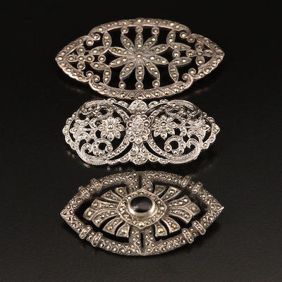 Brooch Grouping Including Sterling, Marcasite and Black Onyx