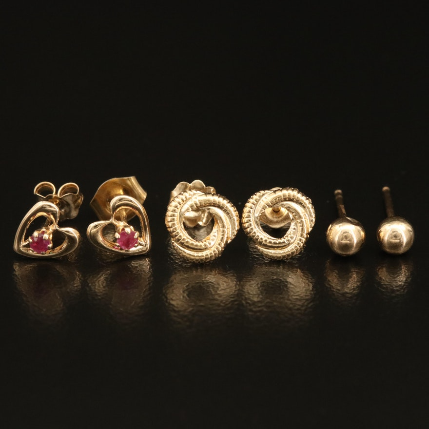 14K Ruby Heart, Knot and Pointed Piercing Ball Earrings