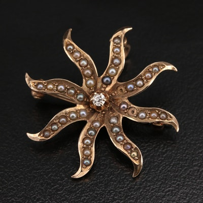 Antique 10K Diamond and Pearl Converter Brooch
