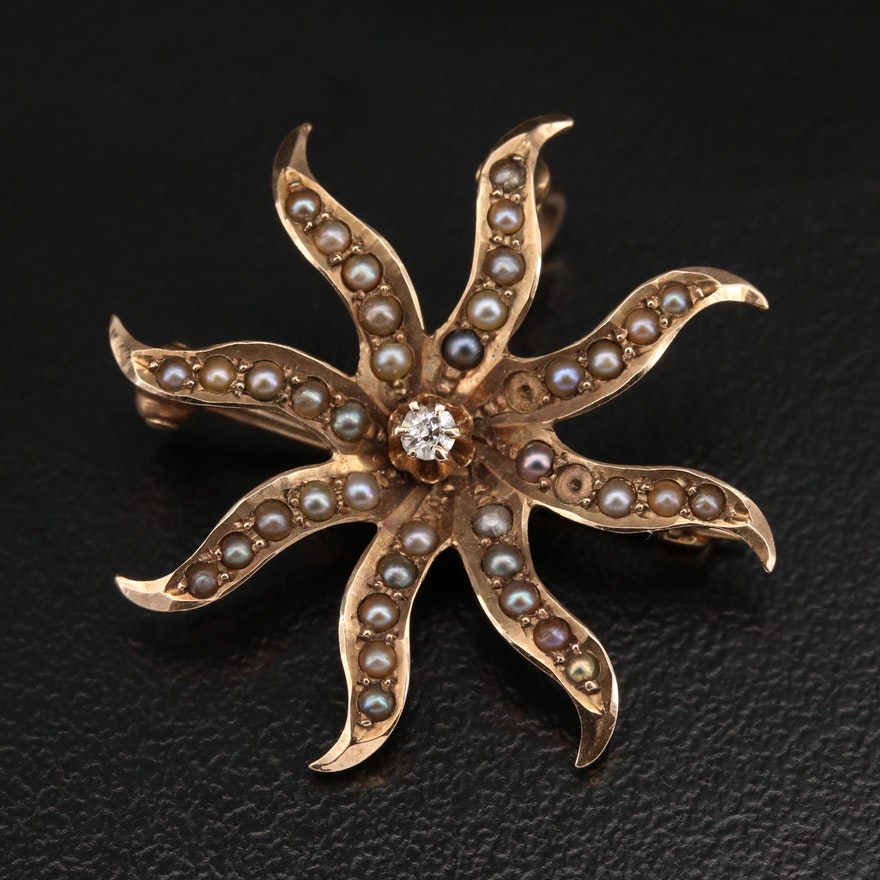 Antique 10K Diamond and Pearl Sunburst Converter Brooch