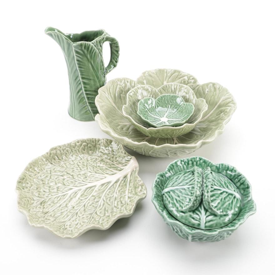 "Bordallo Pinheiro ""Cabbage Green"" Majolica Tableware"