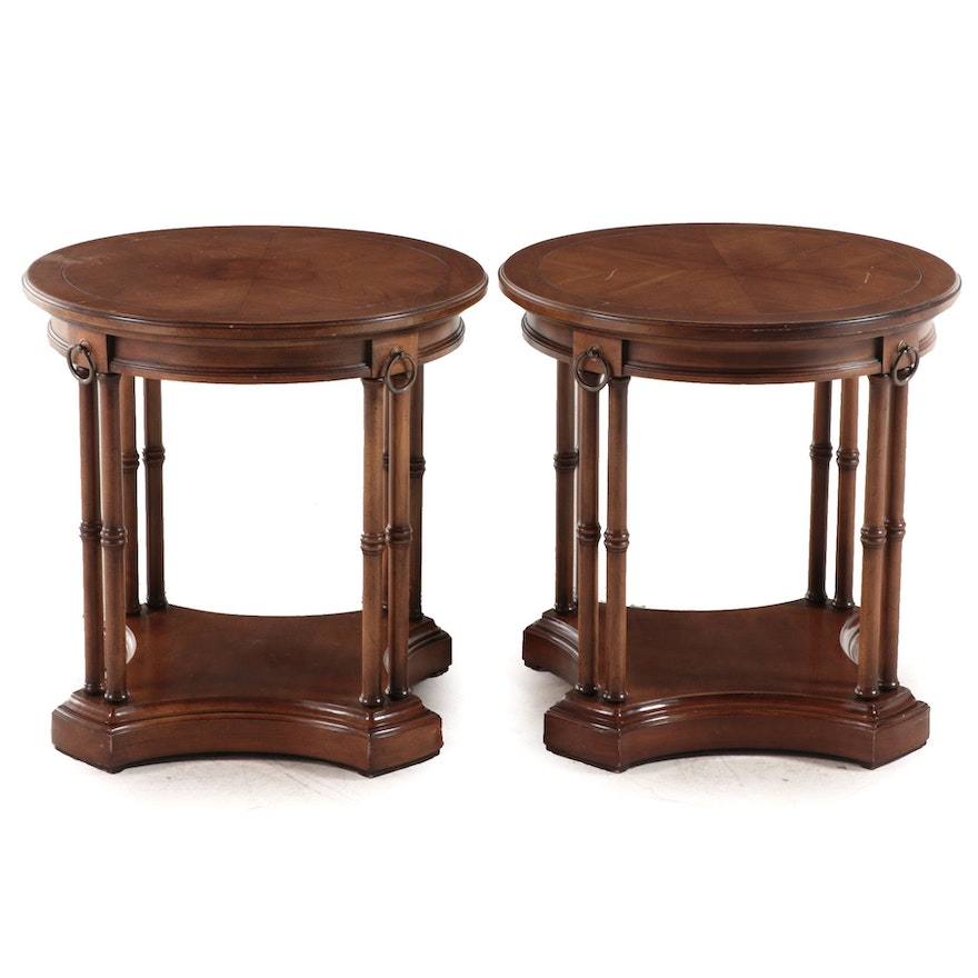 Pair of Brandt Regency Style Cherrywood Side Tables, Mid to Late 20th Century