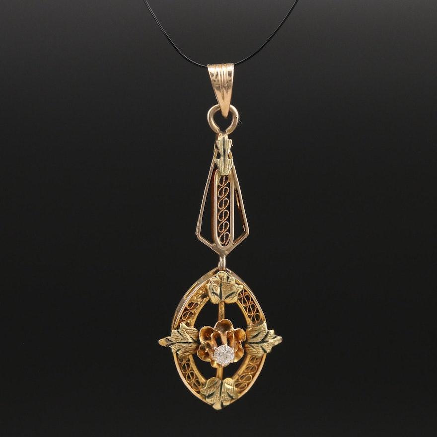 Antique 10K 0.04 CT Diamond Lavalier Pendant