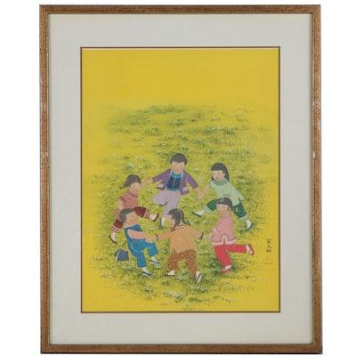 Diana Kan Offset Lithograph of Children