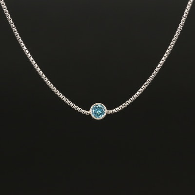 Italian Sterling Bezel Set Diamond Necklace