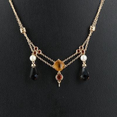 14K Citrine, Pearl and Diamond Necklace with Smoky Quartz Drops