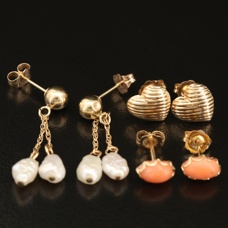 14K Coral, Pearl and Heart Earrings