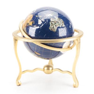 Gemstone Inlaid Globe on Brass Stand