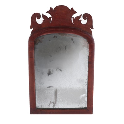 American Queen Anne Style Mahogany Wall Mirror, 19th Century