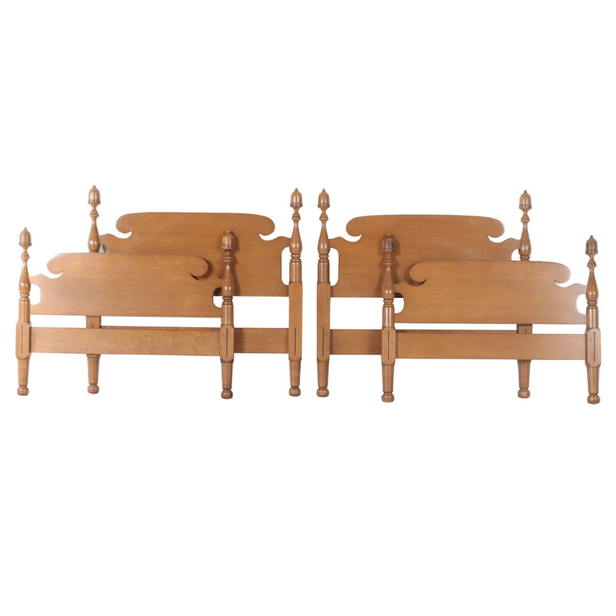Pair of Federal Style Acorn Finial Twin Size Headboards with Footboard