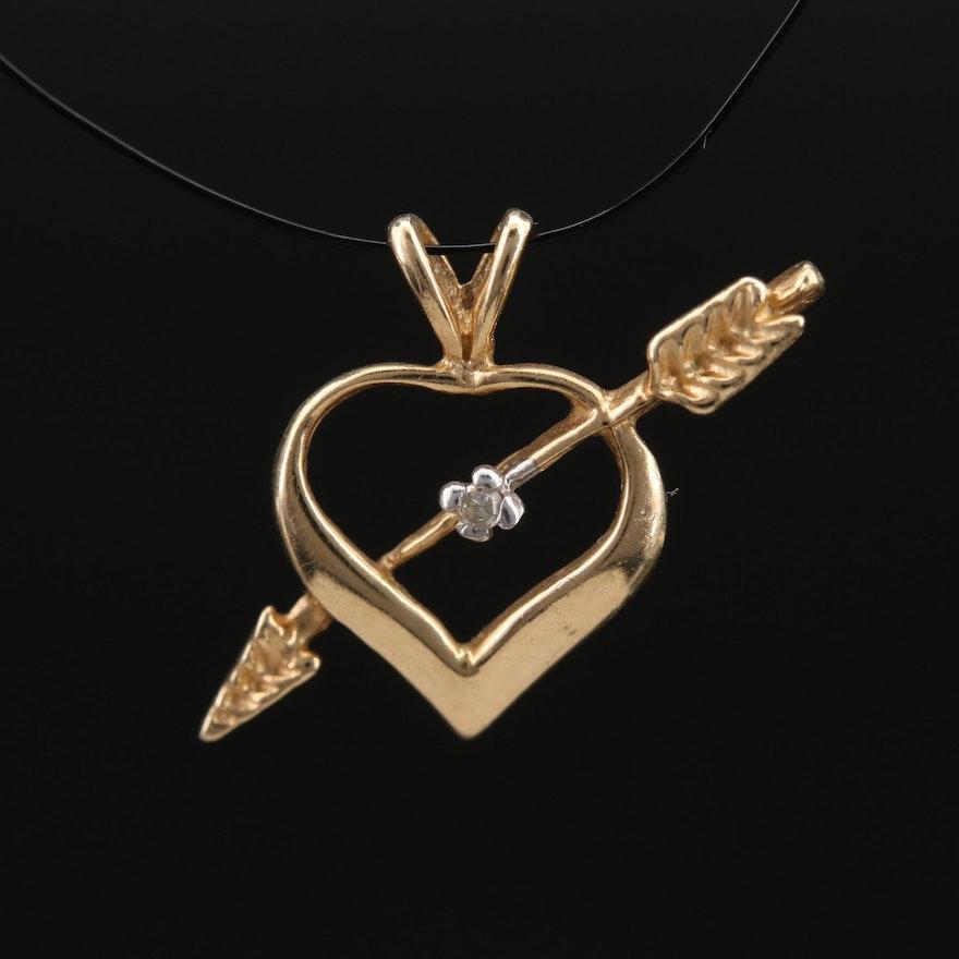 14K 0.01 CT Diamond Heart and Arrow Pendant