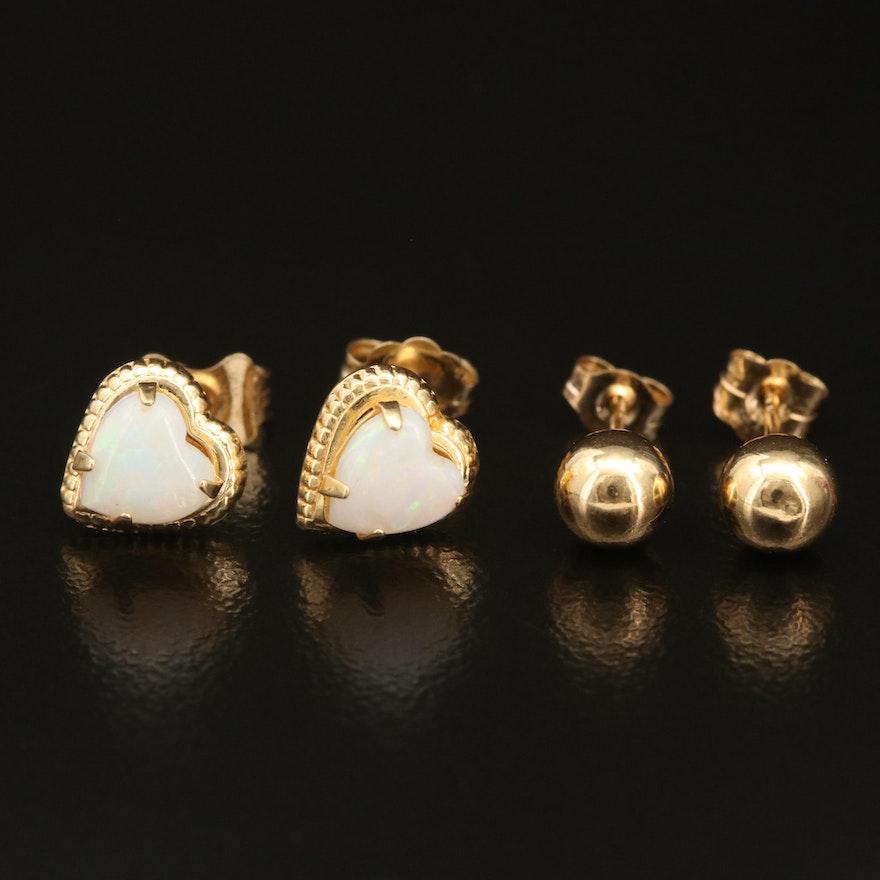 14K Opal Heart and Ball Earrings