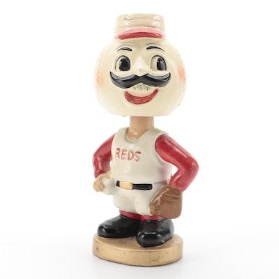 "1960s Cincinnati Reds ""Mr. Red"" Mascot Papier-Mâché Bobblehead Doll"