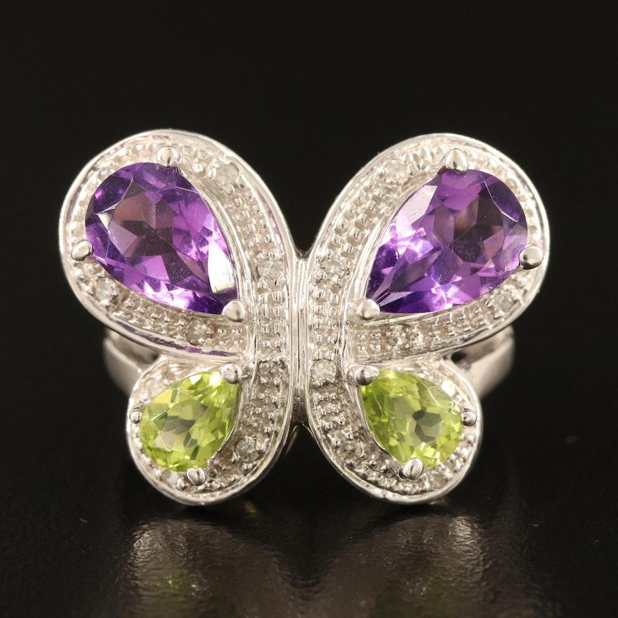 14K Amethyst, Peridot and 0.10 CTW Diamond Butterfly Ring