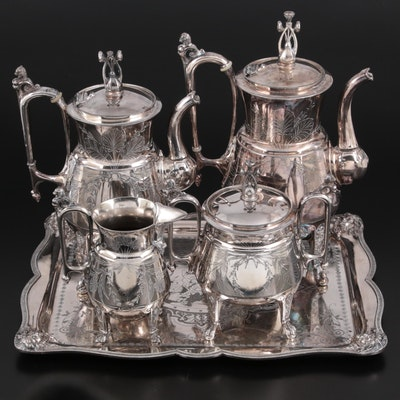 Reed & Barton Silver Plate Tea and Coffee Service with Wilcox Tray, Mid-20th C.