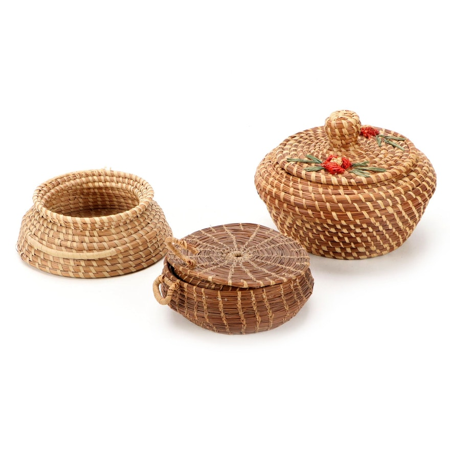 Native American Coushatta Handcrafted Pine Needle Baskets