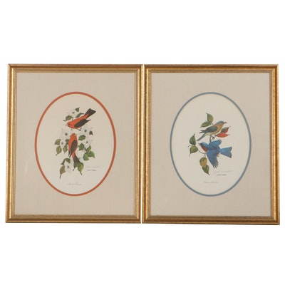 """John A. Ruthven Offset Lithographs """"Scarlet Tanagers"""" and """"Eastern Bluebirds"""""""