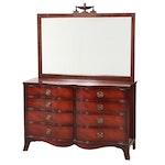 """Drexel """"Travis Court"""" Federal Style Mahogany Eight-Drawer Serpentine Dresser"""