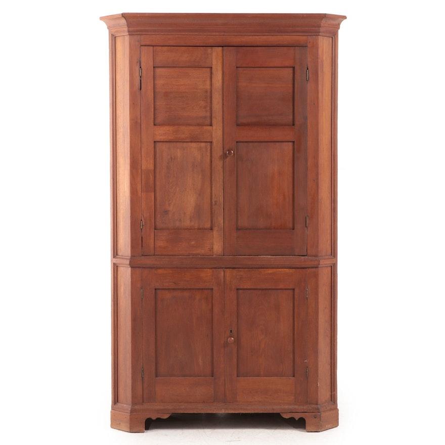 American Primitive Walnut Corner Cupboard, 19th Century