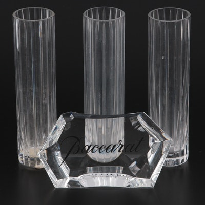 "Baccarat ""Harmonie"" Bud Vases with Logo Display Sign"