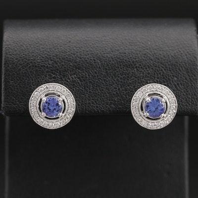 Marchesa 14K Tanzanite and Diamond Stud Earrings