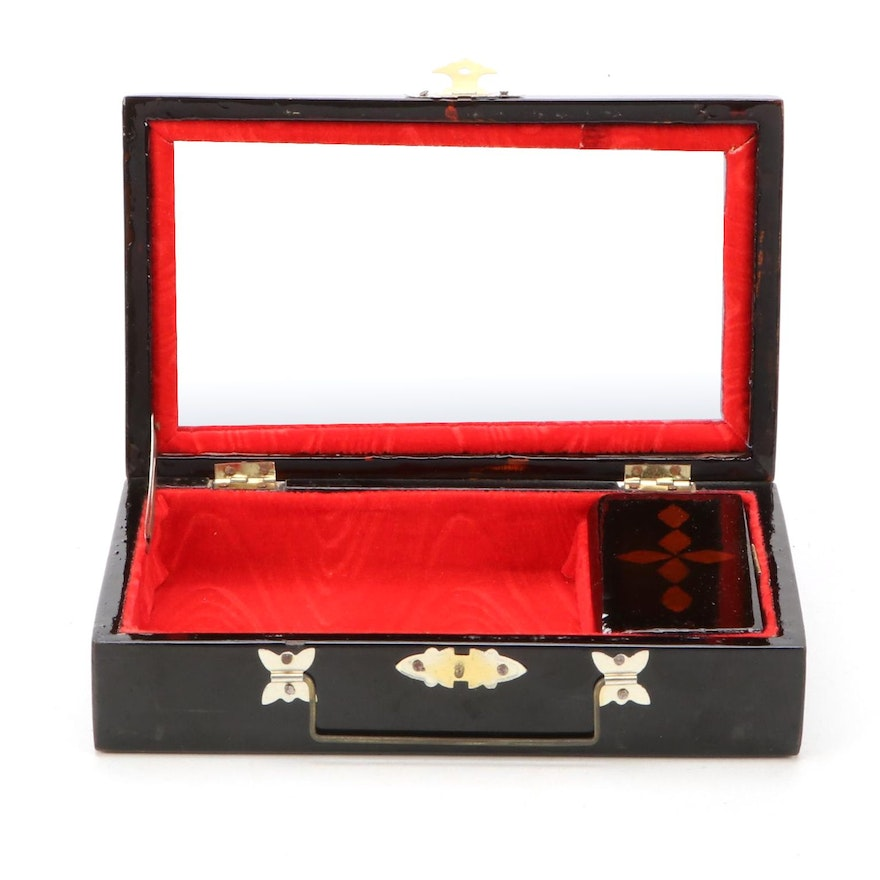 Chinese Mother of Pearl and Abalone Inlaid Hand-Painted Lacquerware Vanity Box