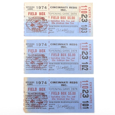 Three Reds Ticket Stubs, Opening Game 1974, Aaron Tied Ruth Home Run Record